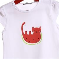 Crew Neck Baby Girl Supreme Kitty Printed Tshirt
