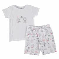 Rabbit Printed Short Sleeve Baby Girl Pyjamas