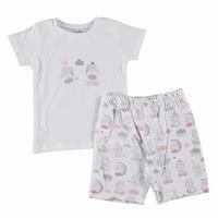 Tavşan Baskılı Kısa Kol Kız Bebek Pijama Takımı
