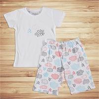 Bulut Baskılı Kısa Kol Erkek Bebek Pijama Takımı