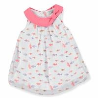 Fish Theme Baby Girl Chiffon Dress with Snap