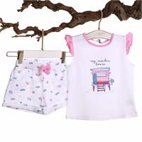 Surfer Baby Girl Ruffled Detailed Tshirt Short
