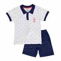 Yaz Erkek Bebek Marine Süprem Kısa Kol Polo Yaka 2li Tshirt-Şort