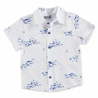 Summer Baby Boy Glu Glu Fish Poplin Short Sleeve Polo Collar Single Shirt
