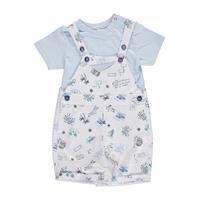 Summer Baby Boy Poplin Dungarees Sweatshirt
