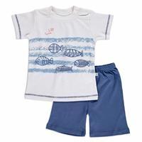 Yaz Erkek Bebek Balık Baskılı İnterlok Kısa Kol Çıtçıtlı Yaka 2li Tshirt-Şort