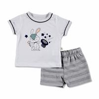 Yaz Erkek Bebek Bunny Süprem Kısa Kol Reçme Bisiklet Yaka 2li Tshirt-Şort
