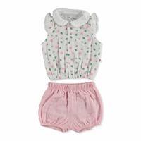 Summer Baby Girl Lisa Peter Pan Collar Shirt Short 2 pcs Set