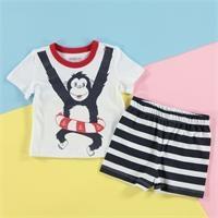 Yaz Bebek Basic Baskılı Tshirt-Şort Takım