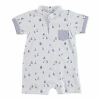 Summer Baby Boy Sailboat Short Sleeve Crew-Neck Jumpsuit