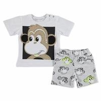 Summer Baby Boy Monkey Cotton Short Sleeve Snap Collar 2 Pieces Tshirt-Shorts