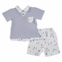 Summer Baby Boy Sailboat Short Sleeve T-shirt Short 2 pcs Set