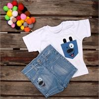 Dog Short Sleeve Crew-Neck Baby T-shirt Short Set
