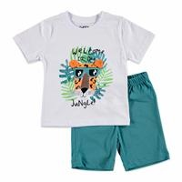 Erkek Bebek Mobil Kulaklı Kaplan 2li Tshirt-Şort Takım