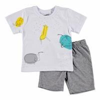 Erkek Bebek Neşeli Hayvanlar 2li Tshirt-Şort Takım