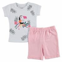 Summer Baby Girl Colored Bird T-shirt Short