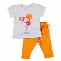 Yaz Kız Bebek Uçan Balonlar Tüllü Tshirt-Tayt