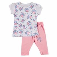 Yaz Kız Bebek Çiçek Desenli Tshirt-Tayt