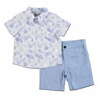 Patterned Cotton Short Sleeve Shirt - Short 2 pcs Set