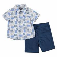 Fish Patterned Cotton Short Sleeve Polo Neck 2 Piece Shirt - Short