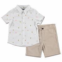 Giraffe Cotton Short Sleeve Shirt - Pants 2 pcs Set