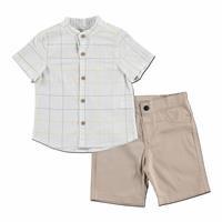 Mini Square Cotton Short Sleeve Shirt - Pants 2 pcs Set