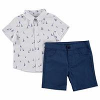 Yelken Baskılı Pamuklu Kısa Kol Polo Yaka 2li Gömlek-Pantolon