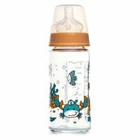 Patterned Wide-Neck Glass Baby Bottle 240 ml