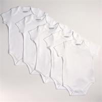 Basic Rib Short Sleeve Baby Bodysuit 5 pcs - White