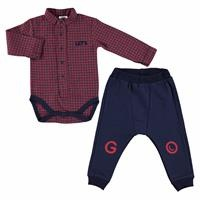 Winter Baby Boy Let's Go Grandad Collar Shirt Bodyduit Pants Set