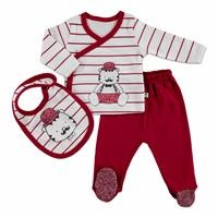 Monsieur Baby Bodysuit Footed Pants Apron Set 3 pcs