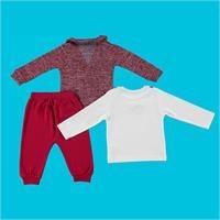 Monsieur Baby Printed Sweatshirt Cardigan Trouser Set 3 pcs