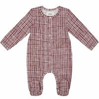 Organic Checkered Baby Girl Long Sleeve Romper
