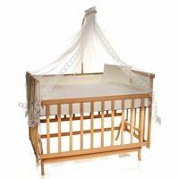 Elyaza Doğal Anne Yanı Asansörlü Uyku Setli Beşik 60x120 cm Krem