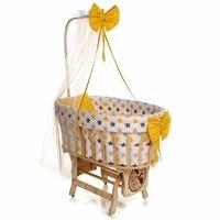 Doğal Ahşap Anne Yanı Sepet Uyku Setli Beşik Sarı Gri