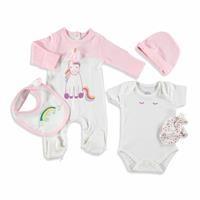 Kız Bebek Unicorn 5li Yenidoğan Hastane Çıkışı Tulumlu Set