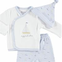 Sailboat Baby Boy Bodysuit Hat Footed Pants Set