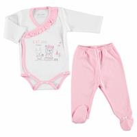 Cloud Baby Girl Ruffled Neck Bodysuits Footed Pants