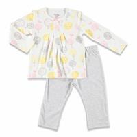 Kış Kız Bebek Renkli Yapraklar Pileli Sweatshirt Alt 2li Takım