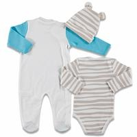 Play with Me Baby Romper Bodysuit Hat 3 Pack Set