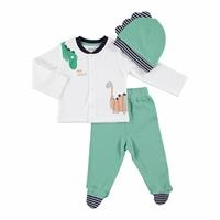 Dino Baby Snaps Top Bottom Hat 3 Pack Set