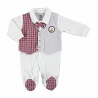 Winter Taxi Driver Teddy Bear Baby Vest Detailed Footed Romper
