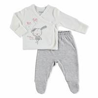 Rabbit Theme Baby Bodysuit Footed Trousers Set