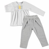 Kış Kız Bebek Bebek Sarı Çiçek Tema Sweatshirt Tek Alt 2li Takım