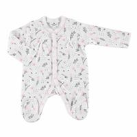 Winter Baby Girl Organic Flower Footed Rompers