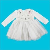 Baby Kitty Girl Eared Tulle Detail Interlock Dress