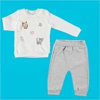 Kitty Girl Interlock Tulle Detail Baby Sweatshirt Trouser 2 pcs Set