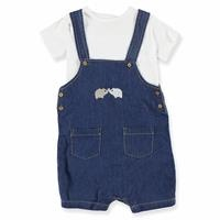 Baby Denim Jumpsuit Turtle Neck Tshirt Set
