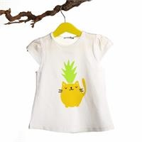 Crew Neck Baby Girl Supreme Pineapple Printed Tshirt