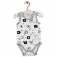 Teddy Bear Printed Collar Snaps Detailed Athlete Bodysuit